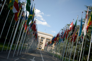UN flags depicting diplomacy for mothers who keep the peace on vacation