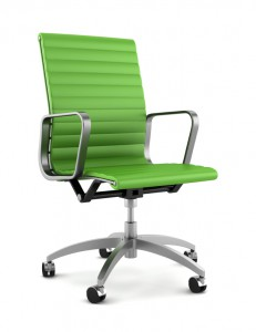modern green office chair isolated on white background